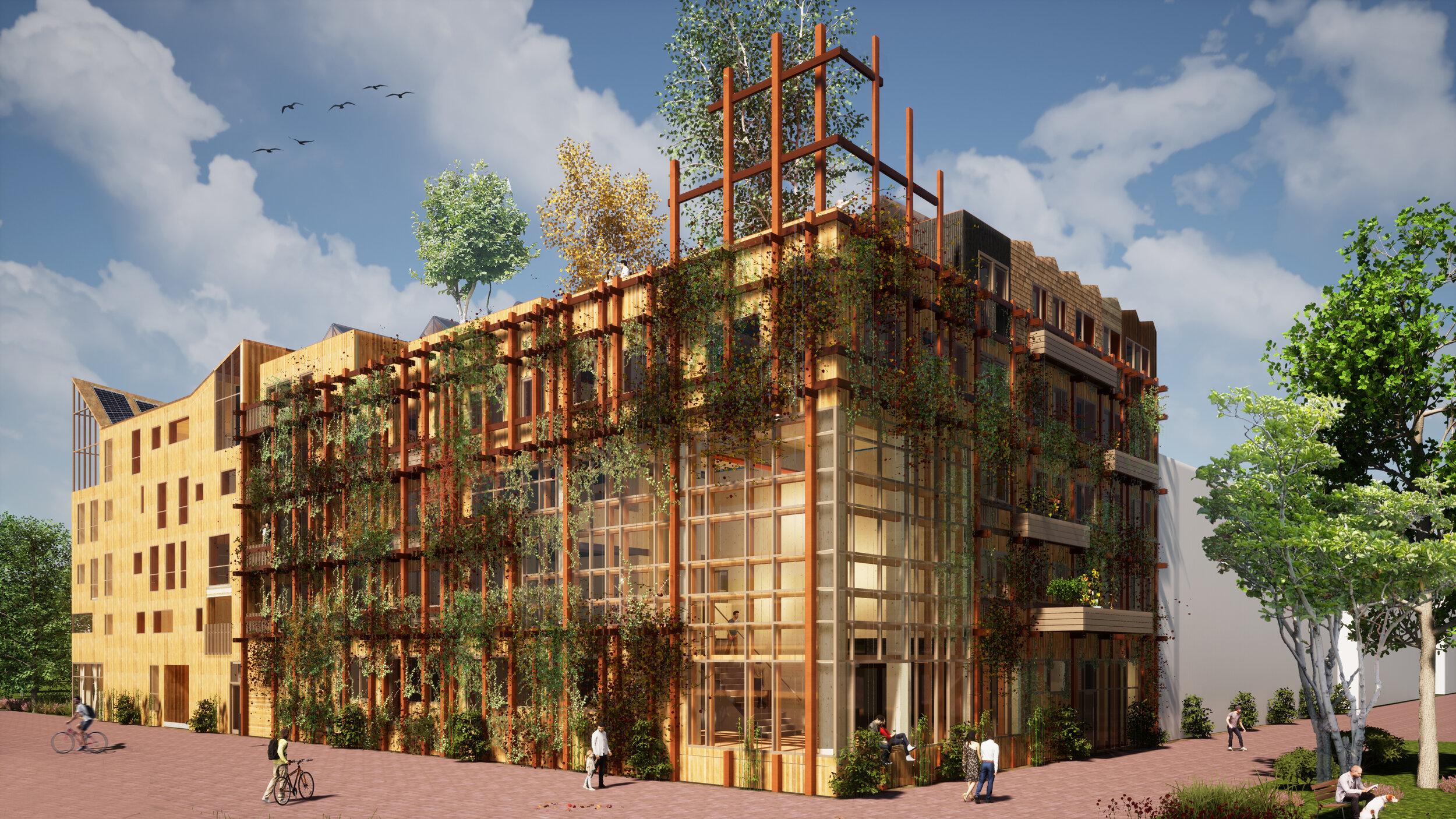Woongebouw De Warren met groene gevel opgetrokken uit herwonnen meerpalen (c) Natrufied Architecture
